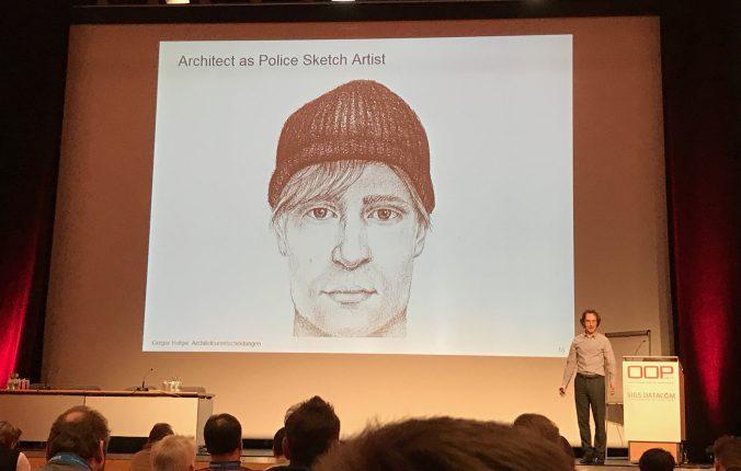 Gregor Hohpe präsentiert einen Architekten als Phantombildzeichner.