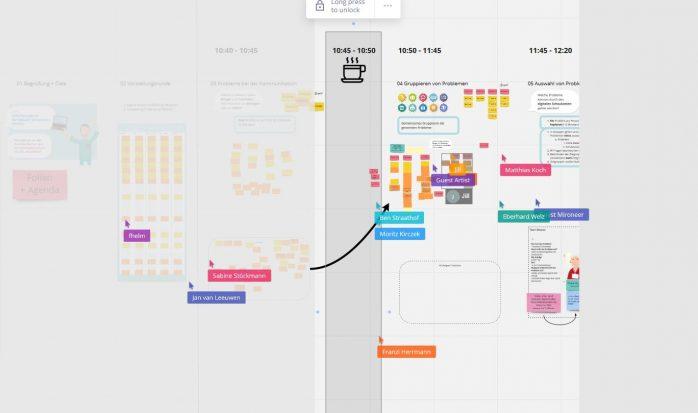 Workshopteilnehmende arbeiten virtuell auf dem Whiteboard.
