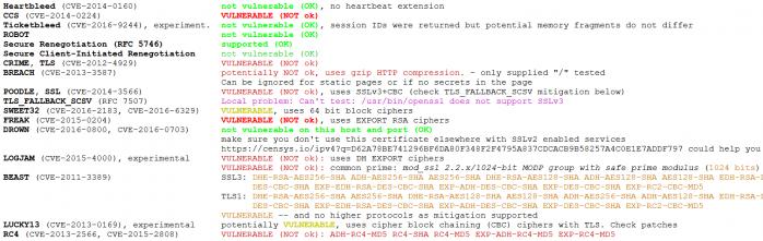Anfälligkeit für bekannte Verwundbarkeiten in den Verschlüsselungsprotokollen des Webservers