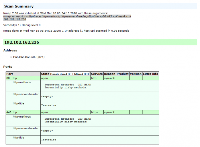 Ergebnis des Penetrationstests mit Nmap und aktiviertem Apache-Modul security2