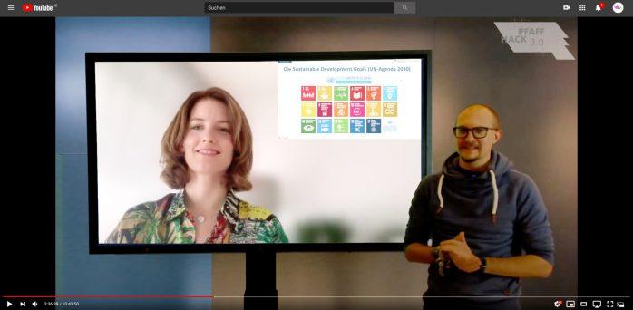 PFAFF HACK: Online-Hackthon für Klimaschutz (Frau Prof. Dr. Spraul war als Interviewgast virtuell im Studio und hat mit uns über den Zusammenhang zwischen Digitalisierung und Nachhaltigkeit gesprochen)