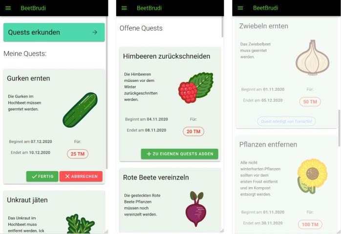 Hackathon für Nachhaltigkeit: 3 Screenshots aus der App »BeetBrudi« erstellt von Team sidn