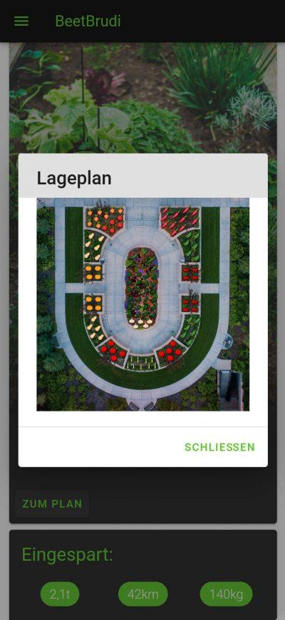 Screenshot aus der App »BeetBrudi«. Man sieht den Lageplan des Gartens.