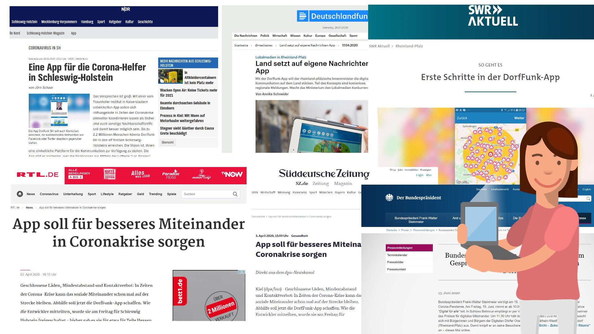 Eine Collage aus verschiedenen Zeitungsartikeln zum DorfFunk-Rollout - von SWR über RTL bis zur Süddeutschen.