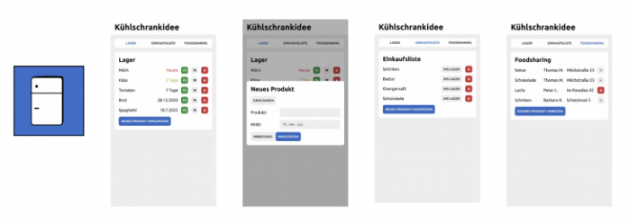 App Mockups der Kühlschrank-Idee. Man sieht verschiedene Screens.