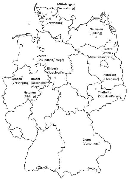 Heimat 2.0-Übersichtskarte zu Kommunen, in denen wir Digitalisierungsstrategien etablieren.